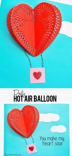 Doily Hot Air Balloon Craft – I Heart Arts n Crafts – Valentines Day İdeas 2020 Toddler Valentine Crafts, Valentines Day Activities, Valentines For Kids, Valentine Ideas, Valentines Crafts For Kindergarten, Printable Valentine, Valentine Box, Valentine Wreath, Homemade Valentine Cards