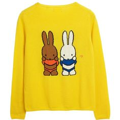 Miffy Peekaboo Yellow Cashmere Sweater (£375) ❤ liked on Polyvore featuring tops, sweaters, cashmere tops, wool cashmere sweater, yellow top, cashmere sweater and bunny top