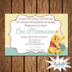 Winnie the Pooh Baby Shower Invitations Instant Download