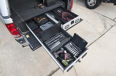 A Contractor's Guide To Slide-Out Cargo Management Bed slide-out storage systems like this A. Pickup Vault help keep tools organized and secure. Best Truck Tool Box, Truck Bed Tool Boxes, Truck Bed Storage, Truck Tools, Trailer Storage, Tool Storage, Storage Systems, Storage Solutions, Storage Ideas