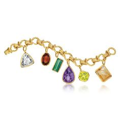 CONFETTI BRACELET 18k yellow gold rope link bracelet suspending 6 large bezel set faceted colored gemstones: emerald-cut rutilated quartz,, oval Madeira citrine, emerald-cut green tourmaline, pear-shaped amethyst, octagonal lemon quartz and emerald-cut rock crystal