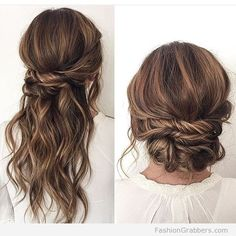 halfway-up-hairstyle-and-bun-with-brunette-balayage
