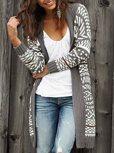 cardigan, white top, ripped jeans