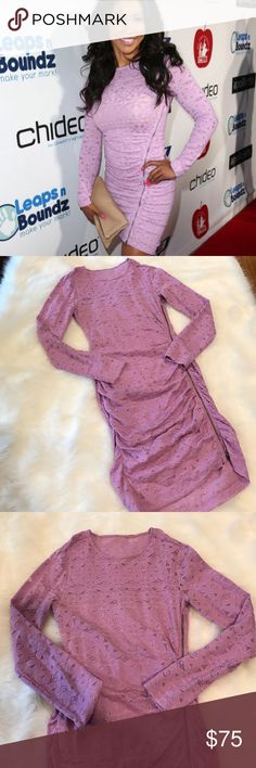 BCBG Purple Fitted Lace Dress Size Small Only worn once!  Beautiful BCBG Maxazria Alesandra Purple Lace long sleeve dress. Side zipper detail. Size Small. Worn by multiple celebrities including Phaedra Parks on an episode of real housewives of Atlanta! The perfect dress for any occasion!! No trades 😊 BCBGMaxAzria Dresses Long Sleeve