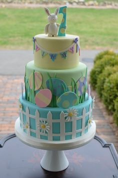 Easter - Easter themed first birthday cake.