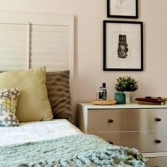 Pottery Barn Knock-Off: Seagrass Headboard – Preciously Paired Paper Furniture, Furniture Update, New Furniture, Seagrass Headboard, King Size Quilt, Inexpensive Home Decor, Take A Nap, Dresser As Nightstand, Home Decor Items