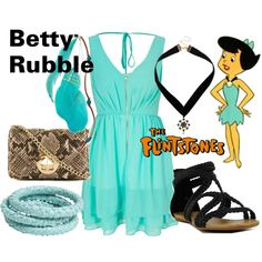 Betty Rubble - The Flintstones by lilyelizajane on Polyvore featuring Dry Lake, Kate Spade, Ted Rossi, Dorothy Perkins, Charlotte Russe, betty rubble, hanna barbera, cartoons, cartoon network and the flintstones