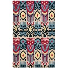 Ikat Beige and Blue Rectangle: 5 Ft. In. x 8 Ft. In. Area Rug