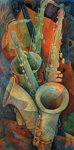 Painting of a bass and three saxophones by Susanne Clark