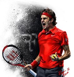 Digital Painting Montage featuring the current top four ranked tennis player in the world. Roger Federer, Novak Djocovic, Andy Murray & Rafael Nadal.