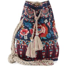 Johnny Was Mina Embroidered Linen Bucket Bag (1.937.780 IDR) ❤ liked on Polyvore featuring bags, handbags, shoulder bags, navy, navy shoulder bag, navy purse, navy handbags, woven bucket bag and embroidered purse