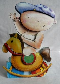 Baby boy sitting on a rocking horse greeting card.