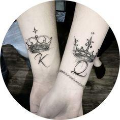 Crown Tattoos For Women, Wrist Tattoos For Women, Crown Couple Tattoo, Couple Tattoos, Tattoo For Boyfriend, Partner Tattoos, Art Couple, Saved Tattoo, Crown Tattoo Design