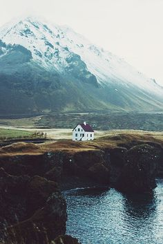 Nordic house in landscape, Iceland.