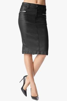 Fashion High Waist Pencil Skirt with Zips in Black Jeather #7FAM