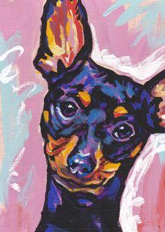 Miniature Pinscher art print pop dog art print by BentNotBroken, $11.99