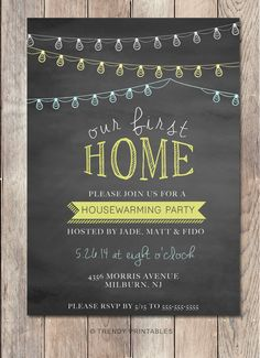 Repin this invite and take 15% off your order at TRENDY PRINTABLES by using coupon code THX4PINNING! https://www.etsy.com/listing/207505153/housewarming-party-invitation