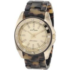 Anne Klein Women's 109178CHTO Gold-Tone Swarovski Crystal Accented Tortoise Plastic Watch (Watch) | click image for more information or to buy it