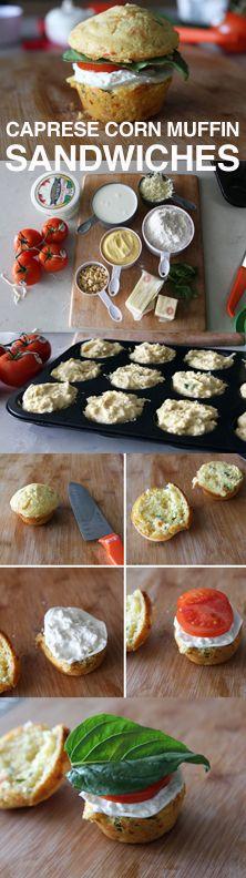 Caprese corn muffin sandwiches - delicious and so easy!