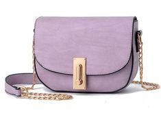 Women Purple Saddle Tote Messenger Handbag with Magnetic Flap Closure