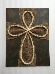 Items similar to Wood Burlap Rope Cross on Etsy – Wreath Wooden Crosses, Crosses Decor, Wall Crosses, Frame Crafts, Crafts To Sell, Wood Crafts, Wooden Cross Crafts, Barb Wire Crafts, Rope Cross