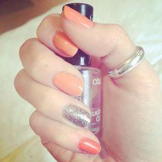 Nail art; Summer, Orange, Silver