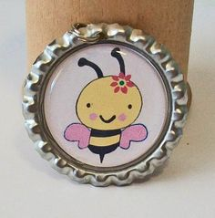 So Cute Bumble Bee With Pink Flower Flattened Bottlecap