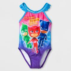 237c8ab32c Toddler Girls' PJ Masks One Piece Swimsuit - Blue/Purple Multicolored