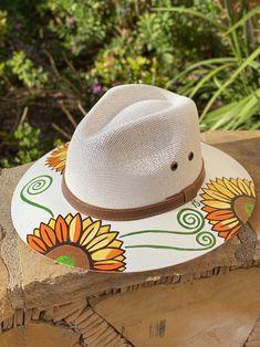 (Pre-Order) Girasol Hat - Agave Girl Boutique Girls Boutique, Hat Making, Sun Hats, Cowboy Hats, Hand Painted, Diy Crafts, Ideas, Women, Art