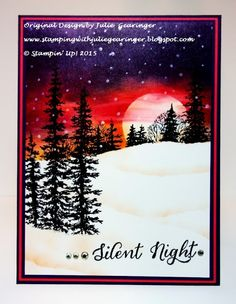 "Stamping with Julie Gearinger: CMCC94 Silent Night; Stampin' Up! Card using ""Wonderland"" and ""Lovely As A Tree"" with Elegant Eggplant, Watermelon Wonder and Pumpkin Pie for the Colour Me! CMCC94 Challenge :-)"