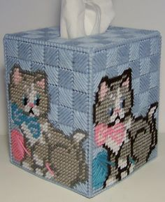 Boutique Size Tissue Box Cover #CAT WITH YARN by NiftyStitches4U #Etsy