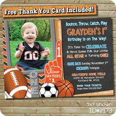 Sports Theme Invitation for an MVP, All Star, Little Rookie birthday party! Features Basketball, baseball, football and soccer, with fun sports terms in the text. Customize Size, Colors, Text, Photo on this invite! 5x7 Shown