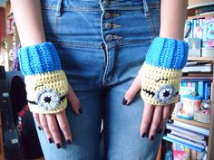 Crocheted Minion Despicable Me Fingerless Gloves on Etsy, $16.33