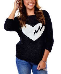 Loving this Black & White Heartbreaker Sweater on #zulily! #zulilyfinds
