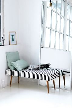 Striped fabric bench.