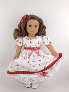 American Girl 18-inch Doll Clothes - Mid-1800's Dress (Red Cherries on White), Petticoat, & Hair Bow