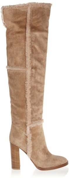 Shearling-Trimmed Suede Over-the-Knee Boots