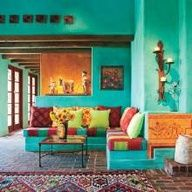 Home Interior Blue Colorful Mexican hallway also known as a banco.Home Interior Blue Colorful Mexican hallway also known as a banco. Style At Home, Home Interior, Interior And Exterior, Color Interior, Interior Paint, Home Design Decor, House Design, Design Ideas, Studio Design