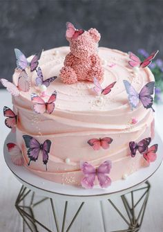 30. Butterflies on Pink Cake If you're celebrate your daughter birthday and looking for birthday cake inspiration then this cake might be perfect for... Butterfly Birthday Cakes, Candy Birthday Cakes, Creative Birthday Cakes, Elegant Birthday Cakes, 18th Birthday Cake, Beautiful Birthday Cakes, Butterfly Cakes, Birthday Cake Girls, Creative Cakes