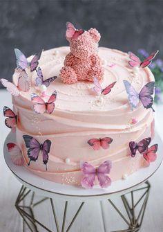 Butterfly Birthday Cakes, Beautiful Birthday Cakes, Baby Birthday Cakes, Butterfly Cakes, Cake With Butterflies, Birthday Cake For Daughter, Elegant Birthday Cakes, Pink Birthday, Creative Birthday Cakes