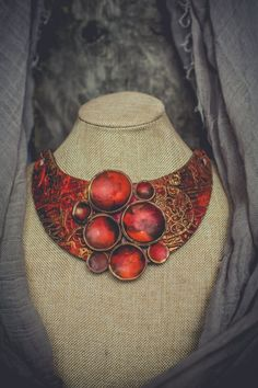 Statement necklace large Bib necklace Red gold necklace large
