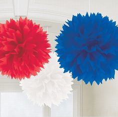 Red, White & Blue Fluffy Decorations - 40cm - Pack of 3. Queen's 90th Birthday Party, British Street Party ideas, Union Jack, red, white and blue decorations, food, drink, tableware
