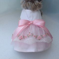 Pink Embroidered Rose Bud Tulle Dress for by princessamee on Etsy