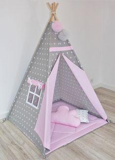 Teepee Kids Teepee Pink Tepee Tipi for Girls Tipi tent for kids Childrens Teepee Playtent Tipi Teepee tent wigwam Stars with pink Childrens Teepee, Teepee Kids, Teepee Tent, Kids Wigwam, Teepees, Diy Tipi, Creative Home, Inspired Homes, Home Crafts