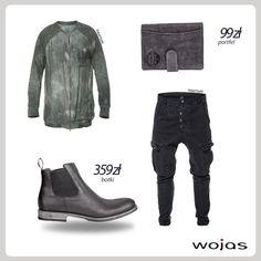 Męskie sztyblety Wojas (4205-91) to bez wątpienia must have sezonu! W wersji na co dzień doskonale sprawdzą się z farbowaną bluzą i czarnymi bojówkami. Grafitowy portfel Wojas (4830-50) to modny dodatek.