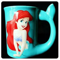 DISNEY THE LITTLE MERMAID Character ARIEL COFFEE CUP MUG turquoise... ❤ liked on Polyvore featuring home, kitchen & dining, drinkware, disney coffee cups, disney, disney mugs and disney glasses