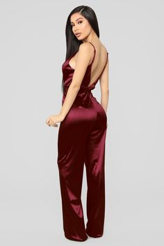 fcd7238deb9d This Is Everything Satin Jumpsuit - Burgundy