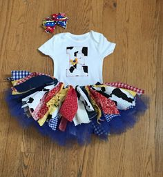 Inspired by Toy Story Tutu outfit, birthday outfit cowgirl tutu, Jessie tutu, extra full shabby chic cowgirl tutu on Etsy, $39.49