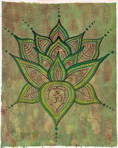 Lotus Flower Painting  Original Art  Green by EarthChildArt