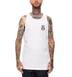 Whitetank top with screenprinted graphic 100% Cotton Model is wearing a...